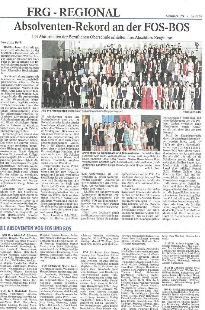 Zeitungsbericht zur FOS/BOS Abschlussfeier